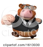 3d Brown Business Cow Holding A Brain On A White Background