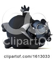3d Black Business Bull Resting And Waving On A White Background