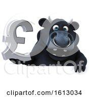 3d Black Bull Holding A Pound Currency Symbol On A White Background