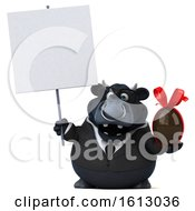 Clipart Of A 3d Black Business Bull Holding A Chocolate Egg On A White Background Royalty Free Illustration