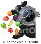 Clipart Of A 3d Black Business Bull Holding Produce On A White Background Royalty Free Illustration