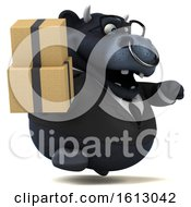 Clipart Of A 3d Black Business Bull Holding Boxes On A White Background Royalty Free Illustration by Julos