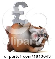 Clipart Of A 3d Bulldog Holding A Pound Currency Symbol On A White Background Royalty Free Illustration