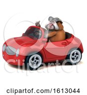 Clipart Of A 3d Bulldog Driving A Convertible On A White Background Royalty Free Illustration