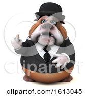 Clipart Of A 3d Gentleman Or Business Bulldog Holding Up A Middle Finger On A White Background Royalty Free Illustration
