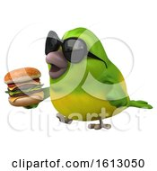 Clipart Of A 3d Green Bird Holding A Burger On A White Background Royalty Free Illustration