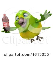 Clipart Of A 3d Green Bird Holding A Soda On A White Background Royalty Free Illustration by Julos