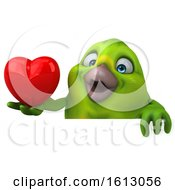 Poster, Art Print Of 3d Green Bird Holding A Heart On A White Background