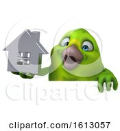 Clipart Of A 3d Green Bird Holding A House On A White Background Royalty Free Illustration by Julos