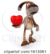 Poster, Art Print Of 3d Brown Chocolate Lab Dog Holding A Heart On A White Background