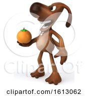 Poster, Art Print Of 3d Brown Chocolate Lab Dog Holding An Orange On A White Background