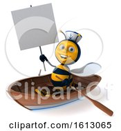 Clipart Of A 3d Sailor Bee Rowing A Boat On A White Background Royalty Free Illustration