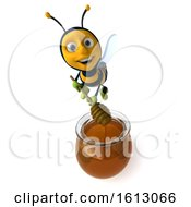 Clipart Of A 3d Male Bee Over A Honey Jar On A White Background Royalty Free Illustration