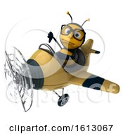 Clipart Of A 3d Male Bee Flying A Plane On A White Background Royalty Free Illustration