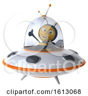 Poster, Art Print Of 3d Male Bee Flying A Ufo On A White Background
