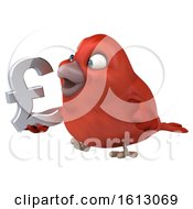Clipart Of A 3d Red Bird Holding A Pound Currency Symbol On A White Background Royalty Free Illustration