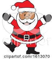 Clipart Of A Happy Dancing Black Christmas Santa Claus Royalty Free Vector Illustration by Johnny Sajem