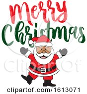 Clipart Of A Happy Dancing Black Santa Claus With A Merry Christmas Greeting Royalty Free Vector Illustration