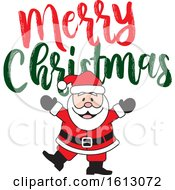 Clipart Of A Happy Dancing White Santa Claus With A Merry Christmas Greeting Royalty Free Vector Illustration