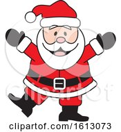 Clipart Of A Happy Dancing White Christmas Santa Claus Royalty Free Vector Illustration by Johnny Sajem
