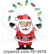 Clipart Of A Happy Black Santa Claus Juggling Christmas Lights Royalty Free Vector Illustration by Johnny Sajem
