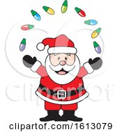 Clipart Of A Happy White Santa Claus Juggling Christmas Lights Royalty Free Vector Illustration by Johnny Sajem