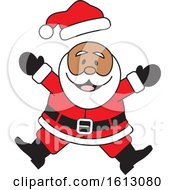 Clipart Of A Happy Jumping Black Christmas Santa Claus Royalty Free Vector Illustration by Johnny Sajem