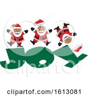 Clipart Of A Happy Black Christmas Santa Claus Jumping On The Word Joy Royalty Free Vector Illustration by Johnny Sajem