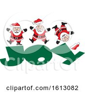 Clipart Of A Happy White Christmas Santa Claus Jumping On The Word Joy Royalty Free Vector Illustration