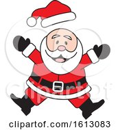 Clipart Of A Happy Jumping White Christmas Santa Claus Royalty Free Vector Illustration by Johnny Sajem