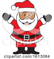 Clipart Of A Happy Welcoming Black Christmas Santa Claus Royalty Free Vector Illustration by Johnny Sajem