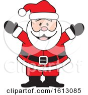 Clipart Of A Happy Welcoming White Christmas Santa Claus Royalty Free Vector Illustration by Johnny Sajem