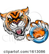 Clipart Of A Vicious Tiger Sports Mascot Grabbing A Ringette Ring Royalty Free Vector Illustration
