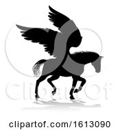 Poster, Art Print Of Pegasus Silhouette Mythological Winged Horse On A White Background