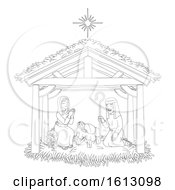 Poster, Art Print Of Christmas Nativity Scene Cartoon Coloring
