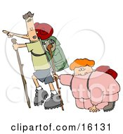 Skinny Man Carrying Hiking Gear And Using A Stick While Pointing Forwards Trying To Motivate His Overweight Wife And To Get Her Into Better Health While Taking A Hike Clipart Illustration