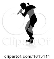 Poster, Art Print Of Singer Pop Country Or Rock Star Silhouette On A White Background