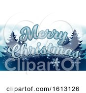 Merry Christmas Winter Trees Snowflakes Graphic