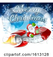 Santa Claus In Rocket Merry Christmas Cartoon