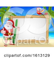 Santa Claus Surf Beach Christmas Cartoon Sign