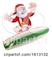 Christmas Santa Claus Surfing Cartoon