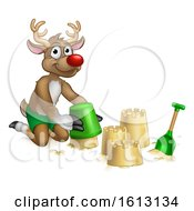 Santas Reindeer Beach Sand Castles Cartoon