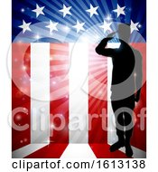 Poster, Art Print Of Patriotic Soldier Saluting American Flag
