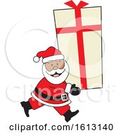 Clipart Of A Happy Black Santa Clause Carrying A Giant Gift Royalty Free Vector Illustration by Johnny Sajem
