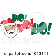 Clipart Of A Black Santa Face And Ho Ho Ho Text Royalty Free Vector Illustration by Johnny Sajem