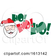 Clipart Of A White Santa Face And Ho Ho Ho Text Royalty Free Vector Illustration by Johnny Sajem