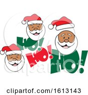 Clipart Of Black Santa Faces And Ho Ho Ho Text Royalty Free Vector Illustration by Johnny Sajem