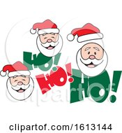 Clipart Of White Santa Faces And Ho Ho Ho Text Royalty Free Vector Illustration by Johnny Sajem