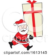 Clipart Of A Happy White Santa Clause Carrying A Giant Gift Royalty Free Vector Illustration by Johnny Sajem