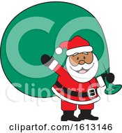 Clipart Of A Happy Black Santa Clause Carrying A Giant Sack Royalty Free Vector Illustration by Johnny Sajem